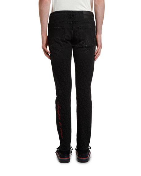 Marcelo Burlon Men's Leopard Rinse-Wash Skinny Jeans