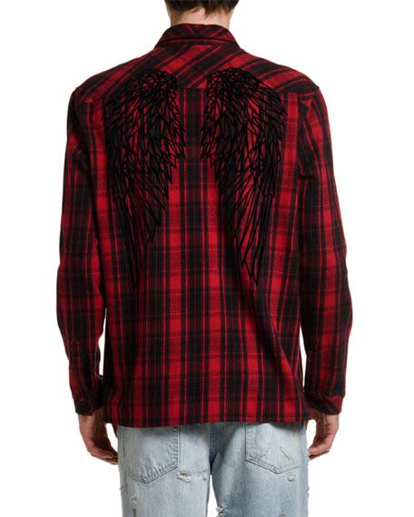 Marcelo Burlon Men's Heart Wings Plaid Sport Shirt