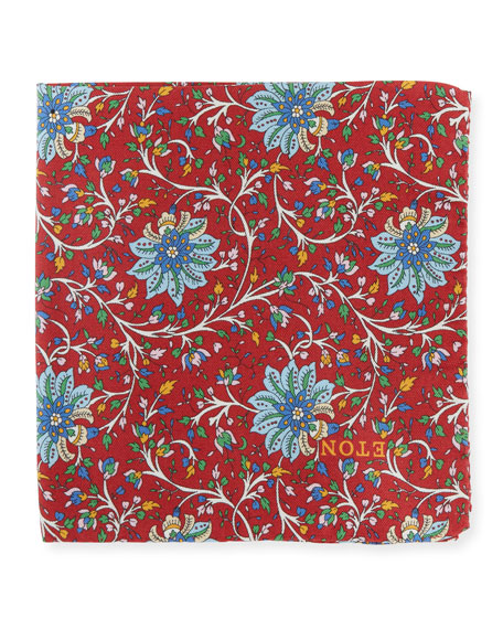 Eton Men's Paisley Silk Pocket Square, Red