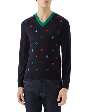 cf539aec374 Gucci Men s Multi-Emblems V-Neck Sweater