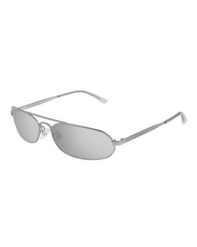 Men's Slim Metal Mirrored Rectangle Sunglasses