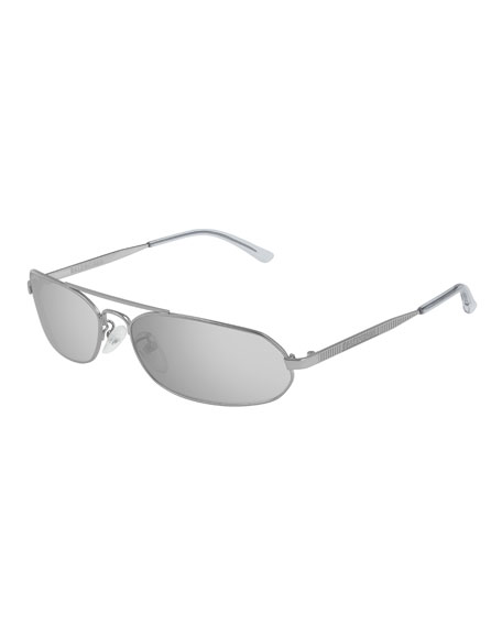 Balenciaga Men's Slim Metal Mirrored Rectangle Sunglasses