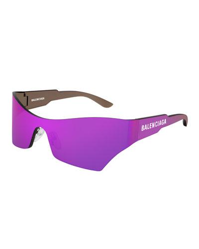 Men's Injection Rectangle Shield Sunglasses