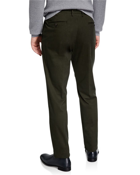 Ermenegildo Zegna Men's Garment-Dyed Tab Twill Pants, Dark Green