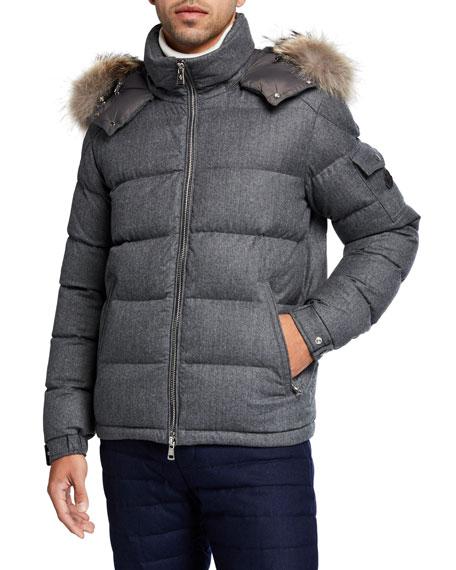Moncler Men's Allemand Leather-Front Jacket