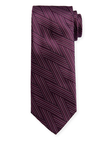 Canali Art Deco Wrap-Pattern Silk Tie, Burgundy