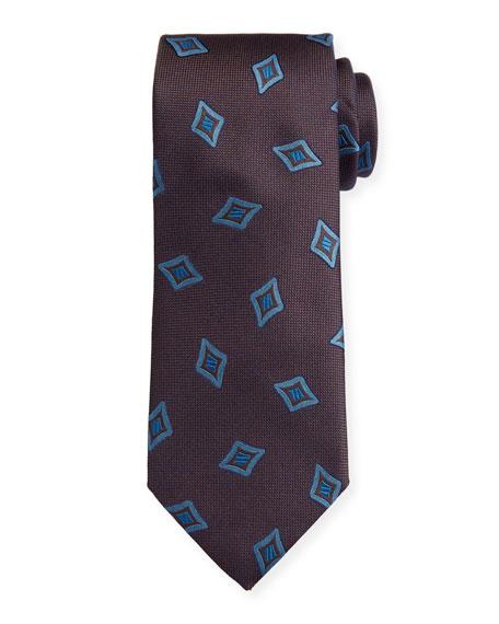 Canali Men's Tossed Medallions Silk Tie, Brown
