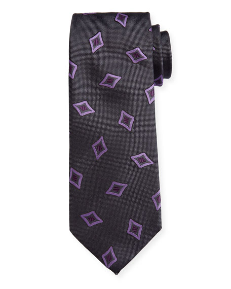 Canali Men's Tossed Medallions Silk Tie, Gray