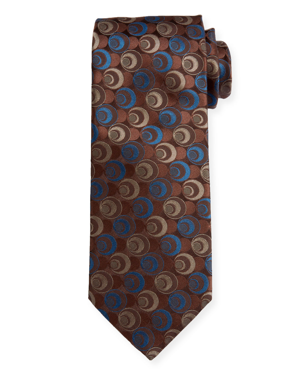 Canali Men's Silk Deco Circles Tie, Gold