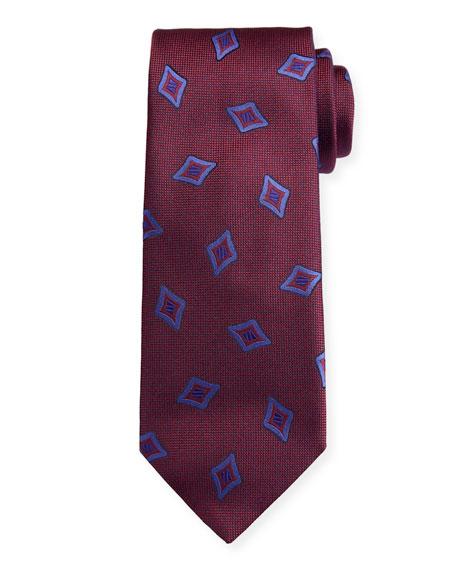Canali Men's Tossed Medallions Silk Tie, Burgundy
