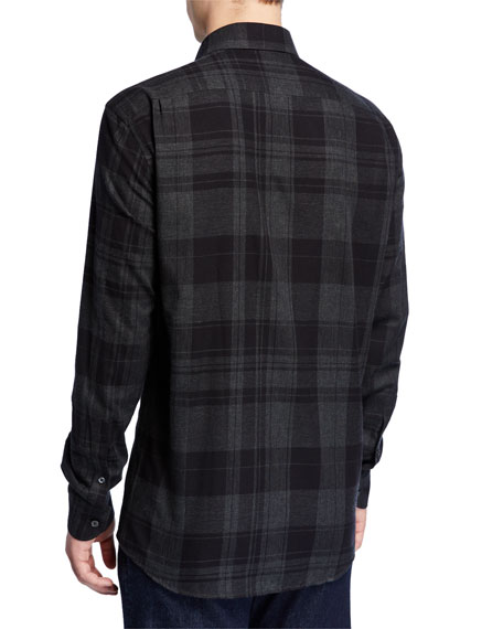 Image 2 of 2: Ermenegildo Zegna Men's Large Plaid Washed Regular-Fit Sport Shirt