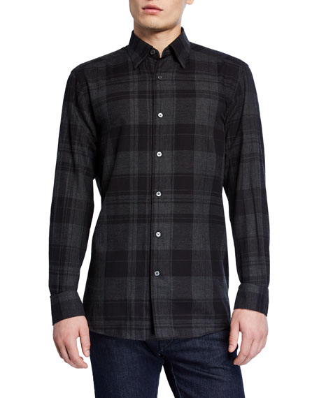Image 1 of 2: Ermenegildo Zegna Men's Large Plaid Washed Regular-Fit Sport Shirt