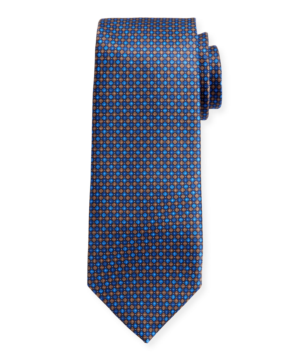 Canali Men's Sateen Printed Neat Silk Tie, Blue