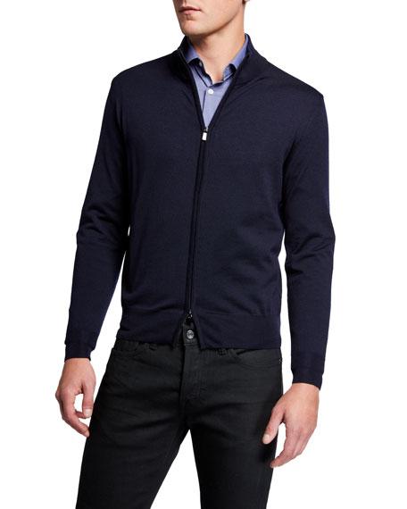 Canali Men's Solid Full-Zip Cardigan Sweater