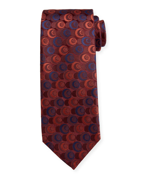 Canali Men's Silk Deco Circles Tie, Red
