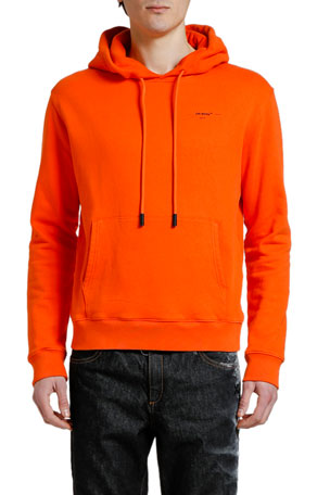 Off-White Men's Slim Hoodie Sweatshirt with Small Logo Print