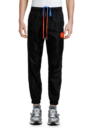 Off-White Men's Nylon Track Pants with Logo Tape
