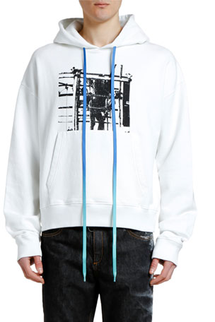 Off-White Men's Scaffolding Over Graphic Hoodie Sweatshirt