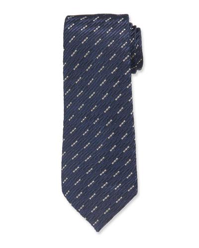 Dash Pattern Silk Tie  Blue/Black