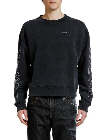 Off-White Men's Abstract Arrows Faded Crewneck Sweatshirt
