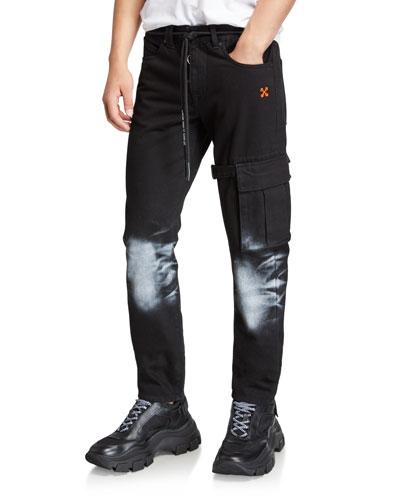 Men's Denim Pants with Bleached Knees & Diagonal Stripes