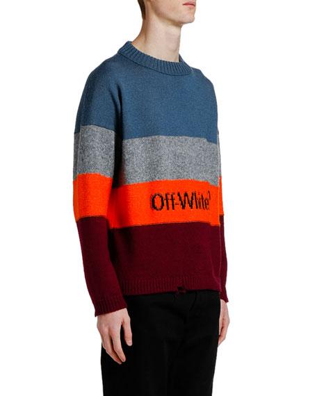 Off-White Men's Bold Stripes Crewneck Sweater with Logo Typographic