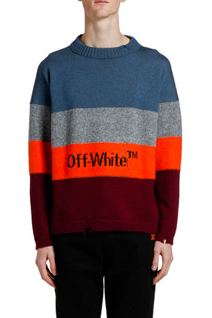 Off-White Men's Bold Stripes Crewneck Sweater with Logo Typographic