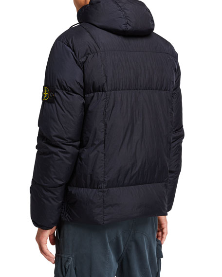 Stone Island Men's Quilted Down Hooded Jacket