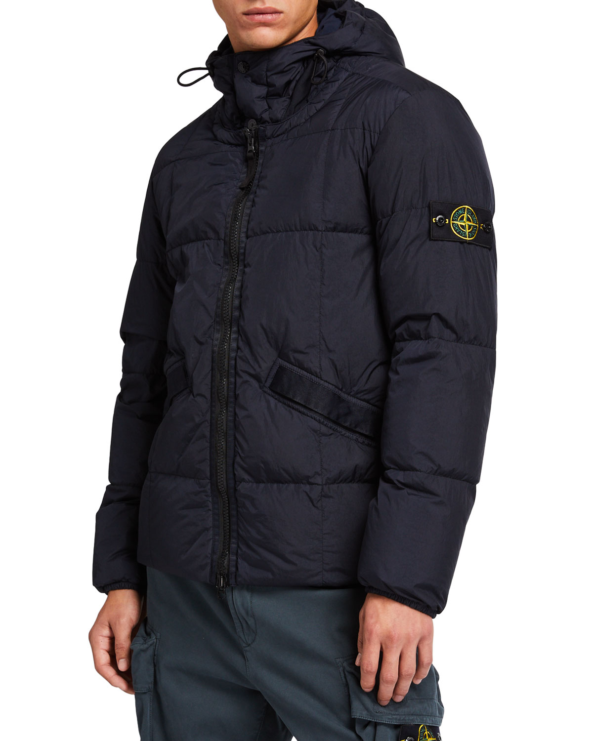 Men's Quilted Down Hooded Jacket by Stone Island