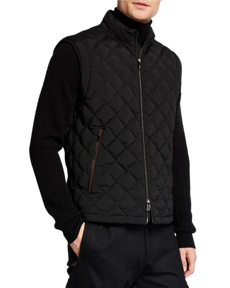 Ermenegildo Zegna Men's Quilted Vest with Leather Trim
