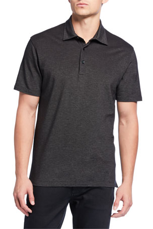 Ermenegildo Zegna Men's Pique Regular-Fit Polo Shirt, Black