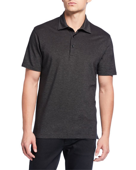 Image 1 of 2: Ermenegildo Zegna Men's Pique Regular-Fit Polo Shirt, Black