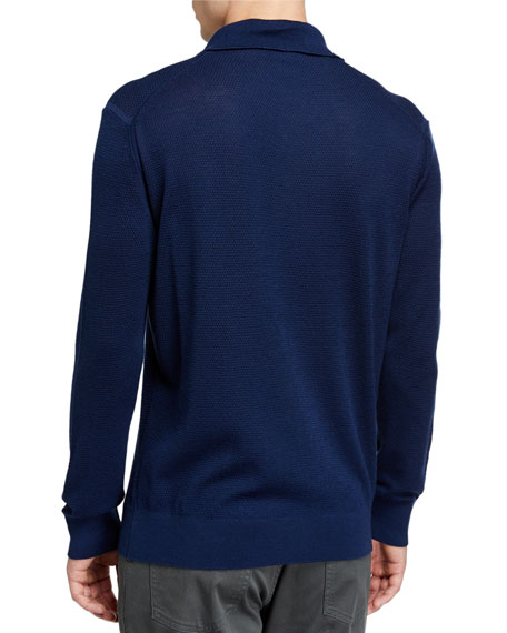 Image 2 of 2: Ermenegildo Zegna Men's Cashmere-Blend Long-Sleeve Polo Shirt, Dark Blue