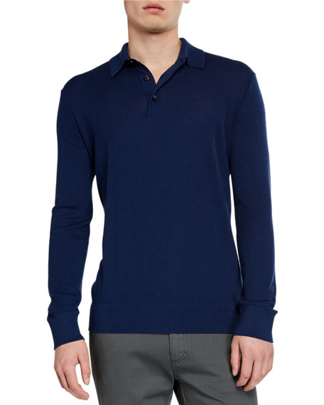 Image 1 of 2: Ermenegildo Zegna Men's Cashmere-Blend Long-Sleeve Polo Shirt, Dark Blue
