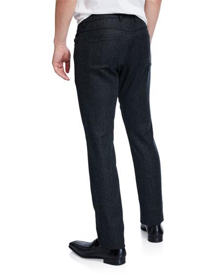 Canali Men's Birdseye Flannel Straight-Leg Pants, Charcoal