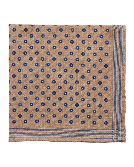 Brunello Cucinelli Accessories REVERSIBLE OPEN CIRCLE WOOL POCKET SQUARE