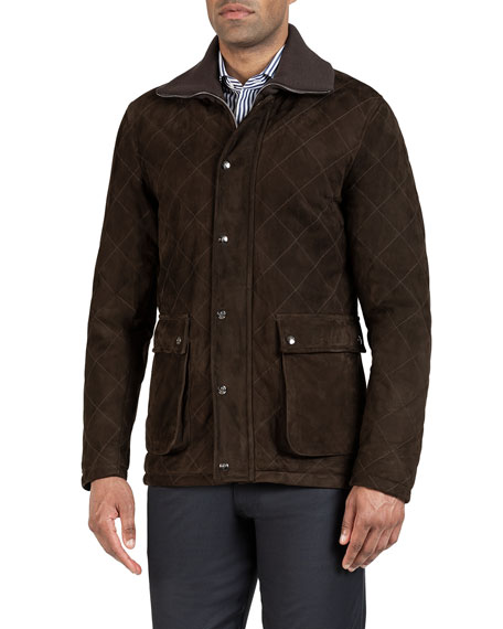 Image 2 of 3: Isaia Men's Quilted Suede Barn Coat