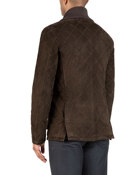 Image 3 of 3: Isaia Men's Quilted Suede Barn Coat