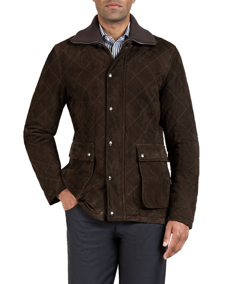 Image 1 of 3: Isaia Men's Quilted Suede Barn Coat