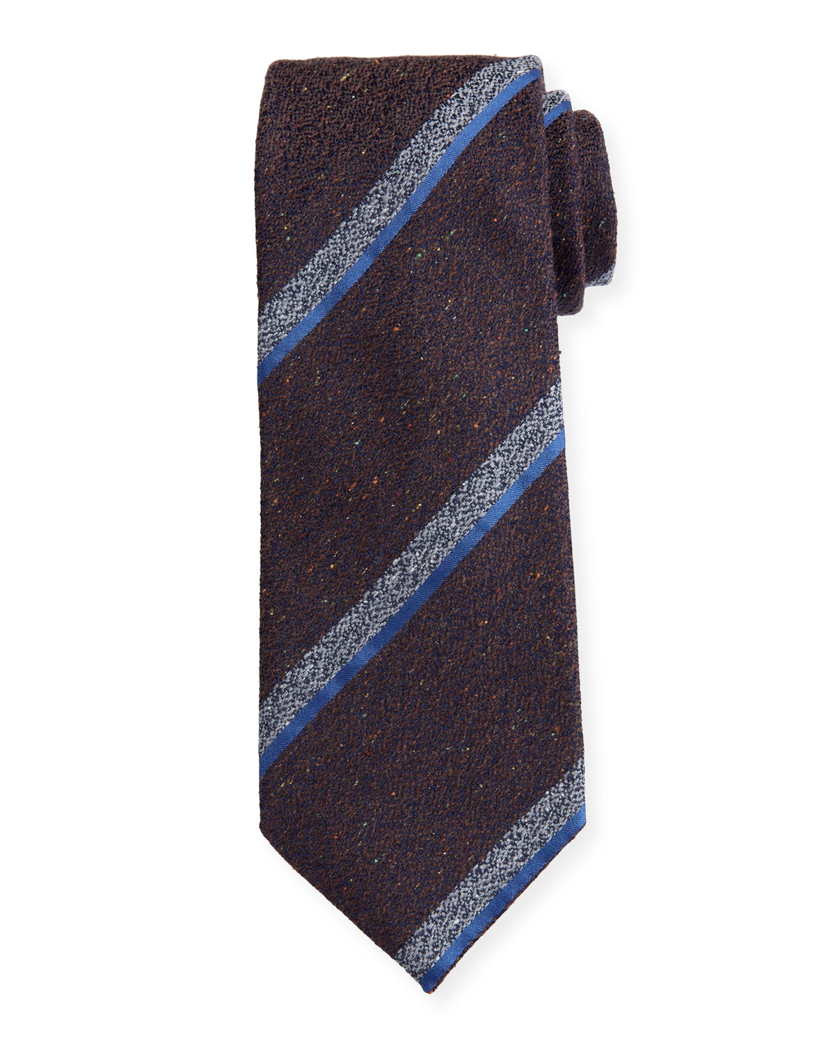 Canali Melange Stripe Silk-Wool Tie, Brown