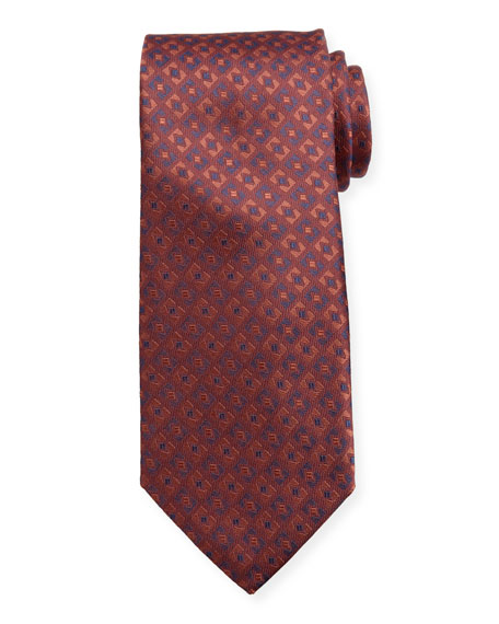 Canali Men's Deco-Inspired Silk Tie, Red