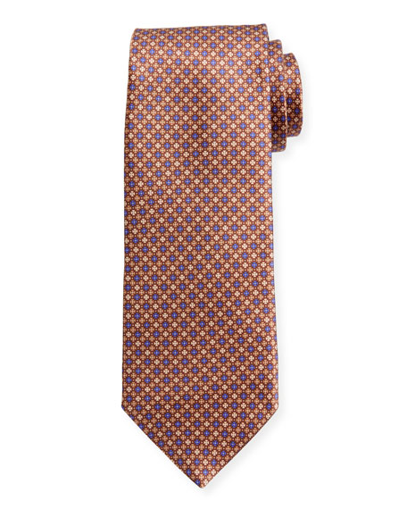 Canali Men's Sateen Printed Neat Silk Tie, Gold