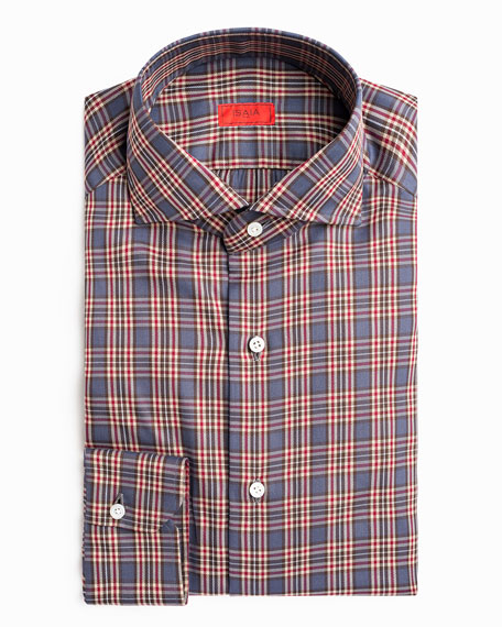 Image 2 of 3: Isaia Men's Plaid Sport Shirt