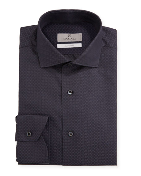 Canali Men's Impeccabile Geometric Jacquard Dress Shirt