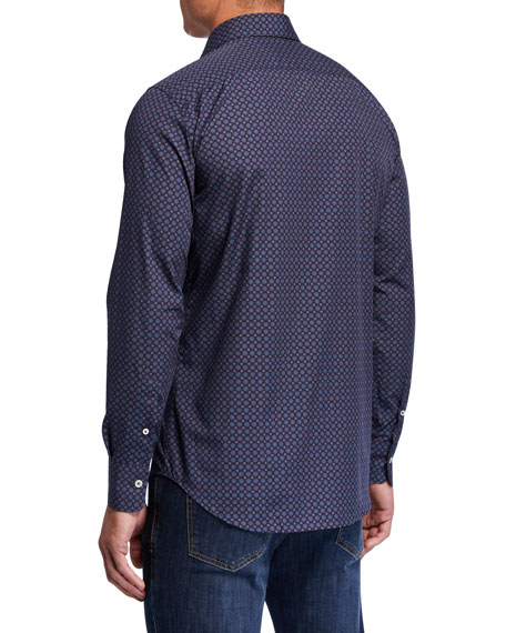 Image 2 of 3: Canali Men's Medallion-Print Sport Shirt