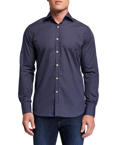 Image 1 of 3: Canali Men's Medallion-Print Sport Shirt