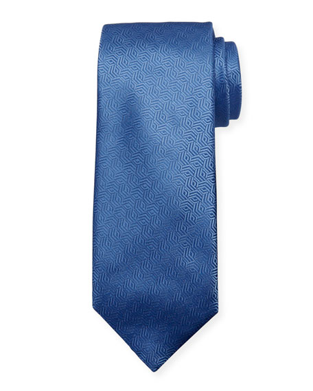 Canali Silk Cable Motif Tie, Light Blue