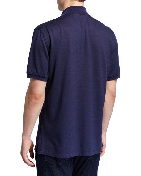 Ermenegildo Zegna Men's Textured-Knit Polo Shirt