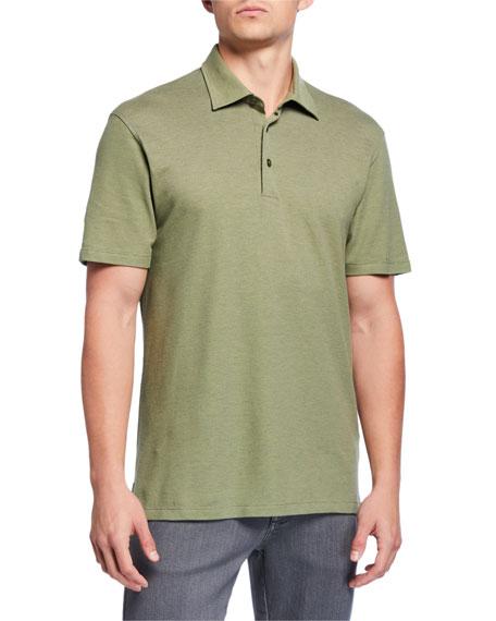 Ermenegildo Zegna Men's Pique Polo Shirt, Medium Green