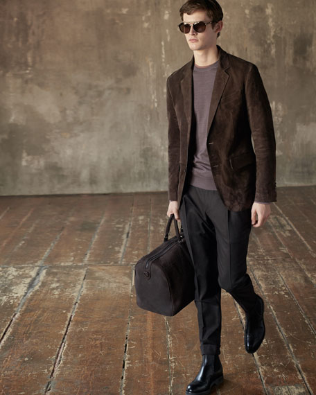 Image 2 of 4: Ermenegildo Zegna Men's Suede Two-Button Jacket